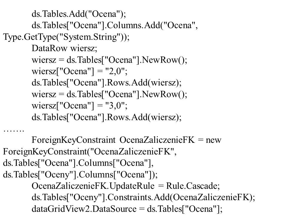 ds.Tables.Add( Ocena ); ds.Tables[ Ocena ].Columns.Add( Ocena , Type.GetType( System.String )); DataRow wiersz;